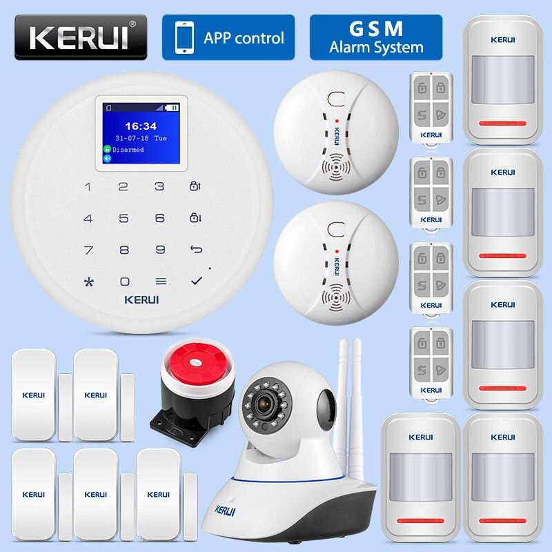 KERUI G17 Wireless GSM Sicherheit Alarm System APP Control Home Motion Detektor Sensor Rauchmelder Einbrecher Alarm 1,7 Zoll