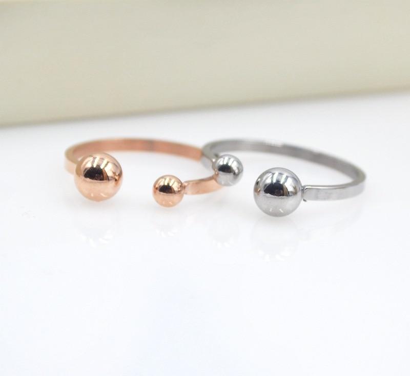YUN RUO 2020 Rose Gold Silver Color Two Balls Fingerring for Woman - Märkessmycken - Foto 3