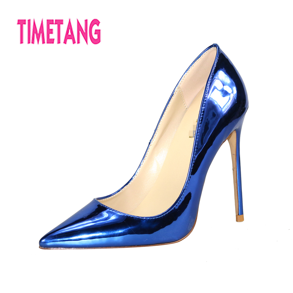 TIMETANG 2018 New Classic Bling Patent Pointed Toe High Heel Women Pumps Sexy Thin Heel OL Shoes Party/Dress Shoes Size 33-45 ms noki elegant silver new 2017 thin heel pointed toe women shoes sexy party dress fashion shoes comfortable sweet shoes hot