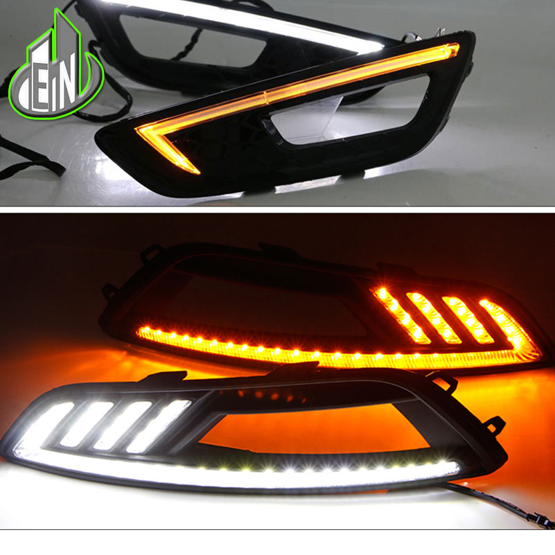 2 Styles Turn Signal And Dimming Style 12V LED For Ford Focus 3 2015 2016 2017 Car DRL Daytime Running Lights With Fog Lamp Hol
