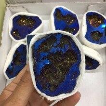 Шт. 1 шт.. дропшиппинг синий гальванический кристалл druzy Драгоценный Камень geode медитация Рейки Исцеление Кристалл украшение дома как подарок