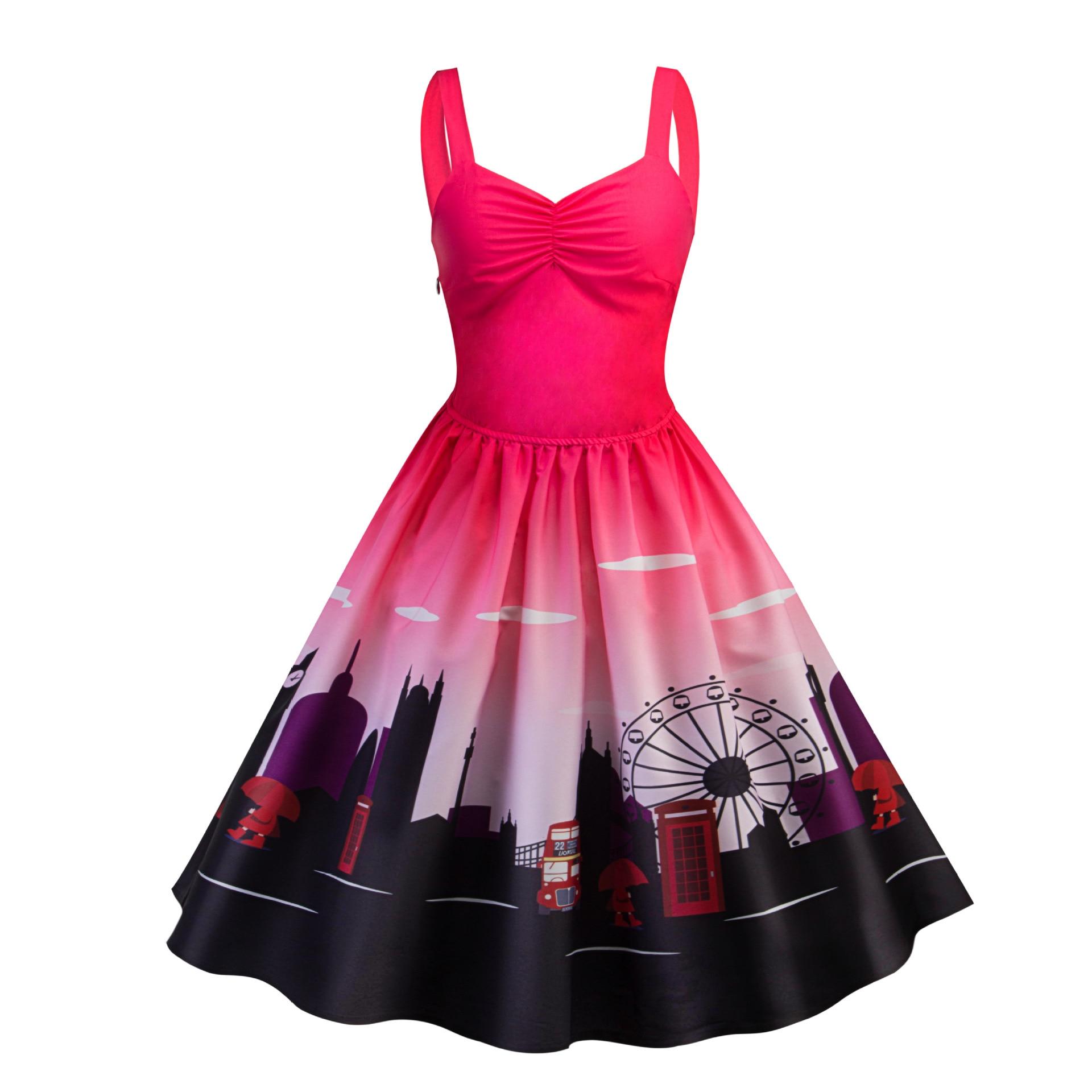 83dd86233 Retro Vintage 1950s 60s Rockabilly Dress 2018 Strapless Audrey Hepburn  Style Big Swing Sexy Print Summer Dresses
