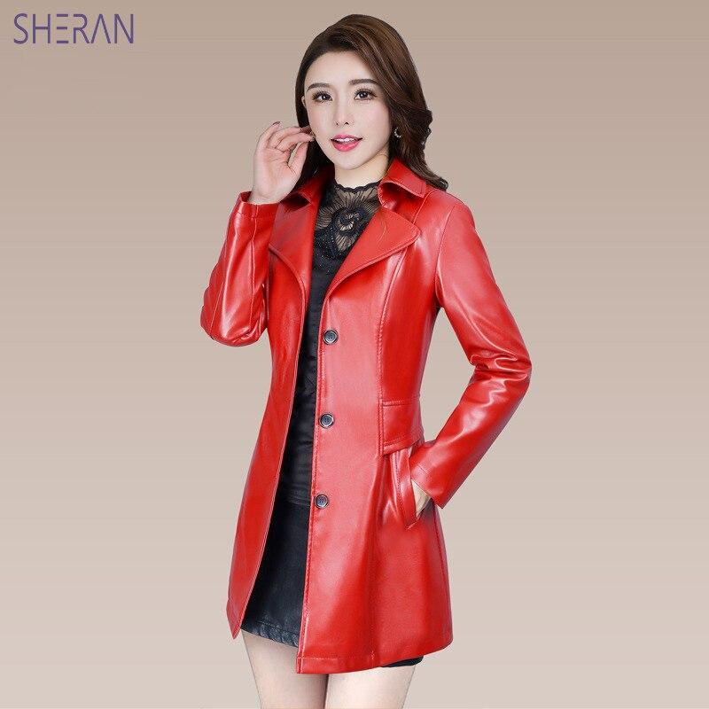 2018 Blouson Cuir Femme Long Faux   Leather   Jackets Black Red Slim Fit   Leather   Coat Autumn Winter Women   Leather   Jackets Outerwear