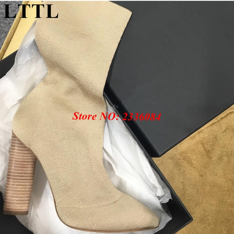 2017 New Brand Designer Women Stretch Fabric Boots Chunky High Heels Hot Selling Shoes Celebrity Woman Spring Autumn Boots