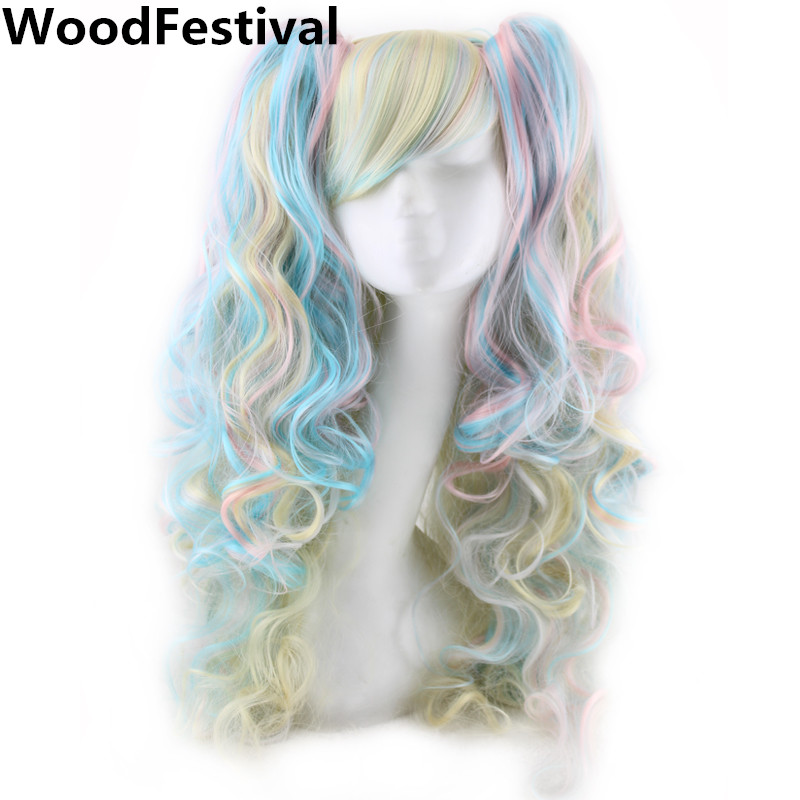 WoodFestival שני Ponytails פאה Cosplay פאות לנשים עמידות חום סיבים שיער סינתטי מעורב צבע פאה קרלי ארוך