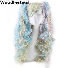 Woodfestival 긴 물결 모양의 두 발톱 클립 포니 테일 코스프레 가발 bangs 합성 머리 내열성 가발 여성을위한