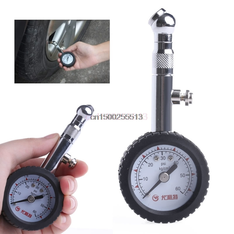 New Car Vehicle Automobile Tire Air Pressure Gauge 0-60 psi Dial Meter portable lcd digital manometer pressure gauge ht 1895 psi air pressure meter protective bag manometro pressure meter
