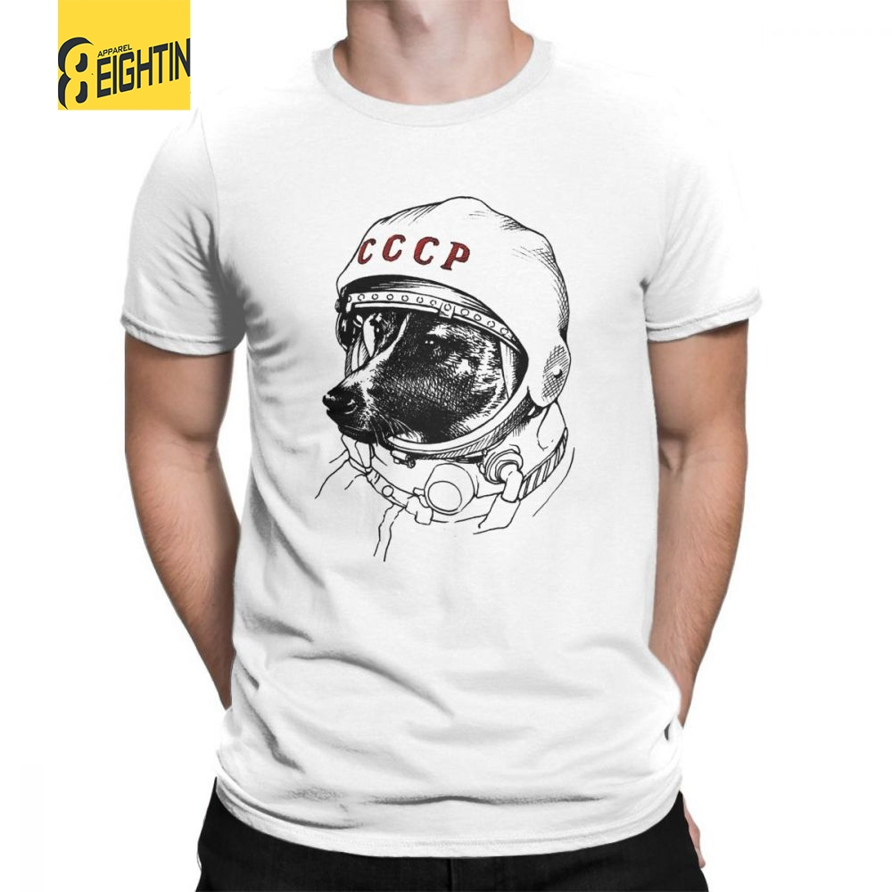CCCP Rusia Laika Space Traveler Urss Comunismo Astronauta Dog Male Short Sleeves O Neck   T     Shirts   Plus Tees 100% Cotton   T  -  Shirts