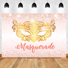 Neoback Gold Mask Birthday Party photo background Custom Glitter Shiny Light Pink Photography Backdrops For Photo Studio