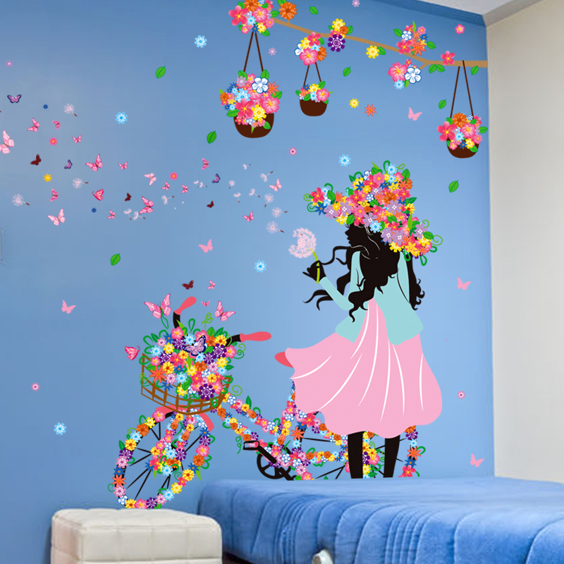 Fashion Lady Blowing Dandelion Wall Paper Art Girls Room Wall Decals  Stickers Butterfly Flowers Bike Girl Home Decor Wall Mural In Wall Stickers  From Home ...