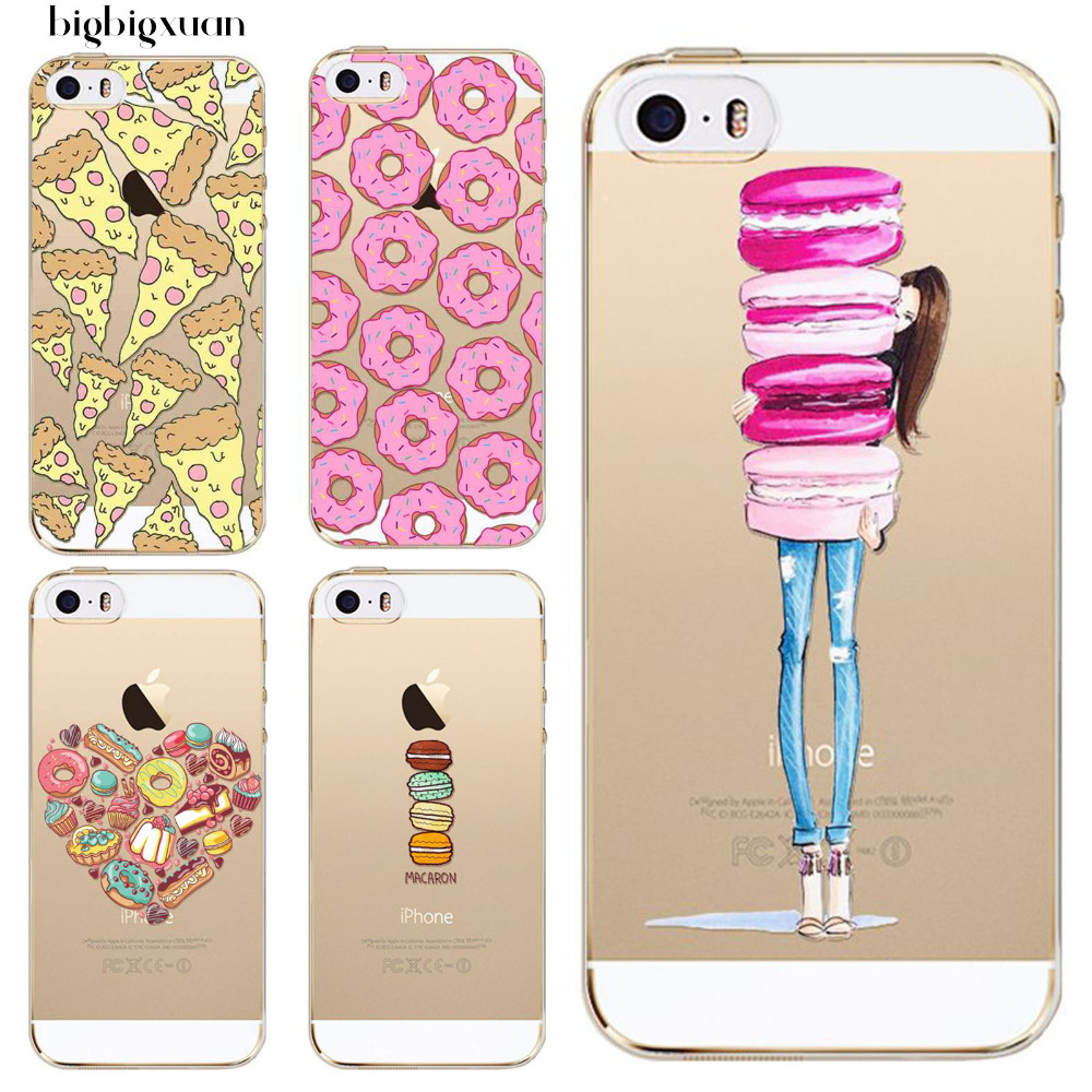 Rainbow Color Foods Phone Cases for iphone 5C Hamburger Donuts Macaron Pattern Clear Ultrathin TPU Silicone Covers For Apple 5c