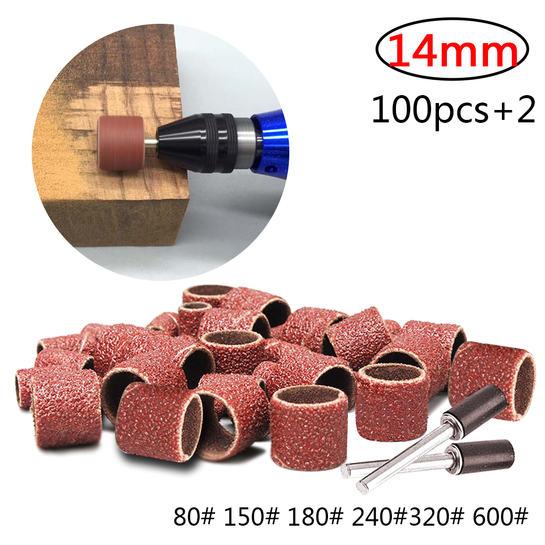 80 Grit Sand Bands Shank Rotary Tool Kit with 2Pcs Mandrels Dophee 100Pcs Sanding Drum 1//2 inch