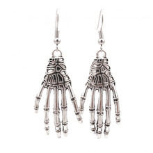 Halloween Jewelry Decoration Punk Skull Hand Spider Silver Hyperbole Drop Earring for Women Men Aretes De Mujer
