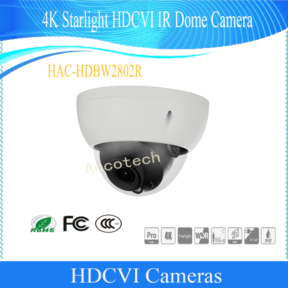Free Shipping DAHUA Original CCTV 4K Starlight Camera 8MP WDR 3DNR IR Waterproof HDCVI Dome Camera IP67 No Logo HAC-HDBW2802R free shipping dahua cctv camera 4k 8mp wdr ir mini bullet network camera ip67 with poe without logo ipc hfw4831e se