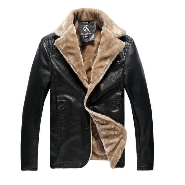 Winter Leather Jacket Men Thickening Warm Windbreak Outwear Faux Fur Collar mens leather Jackets and Coats Plus Size 5XL