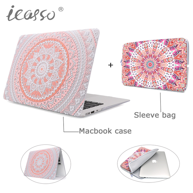 best sneakers 24166 bf367 US $30.47 |icasso unique mandala Hard Case cover shell for Macbook Air Pro  Retina 11 13 15 inch Laptop cover bag macbook case+Sleeve Bag -in Laptop ...