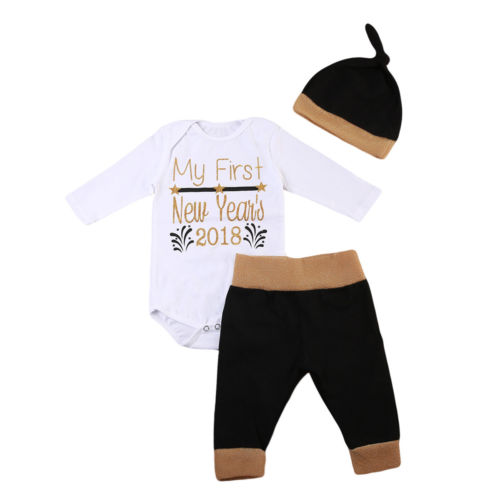 Cute Newborn Baby Boy Girls Clothes Set Letter Print Cotton Romper Jumpsuit Bodysuit Black Pants Leggings Long Sleeve Outfit 3pc
