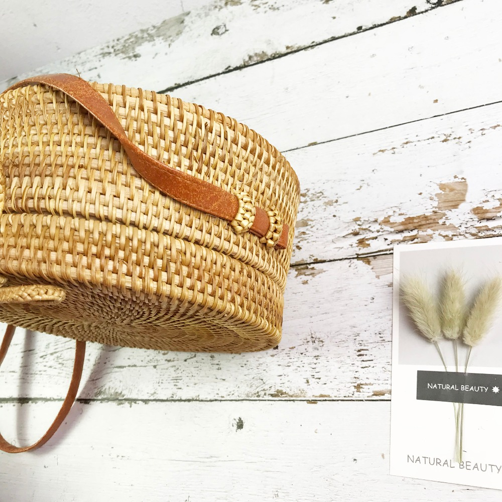 Bali Island Hand Woven Bag Round Bag buckle Rattan  Straw Bags Satchel Wind Bohemia Beach Circle Bag 9