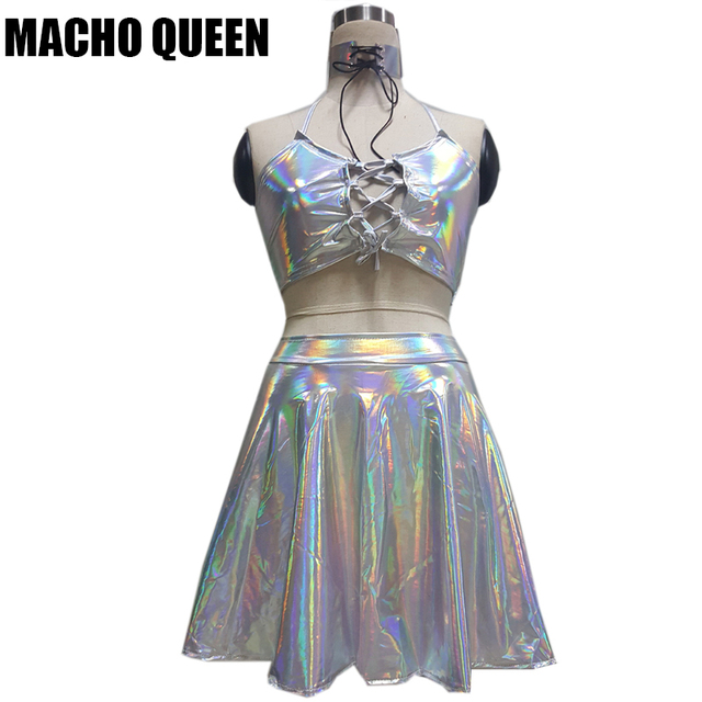 187293142056 Holographic Alien Backpack Bag Choker Skirt Festival Rave Wear Clothes  Outfits Crop Top And Skirt Set