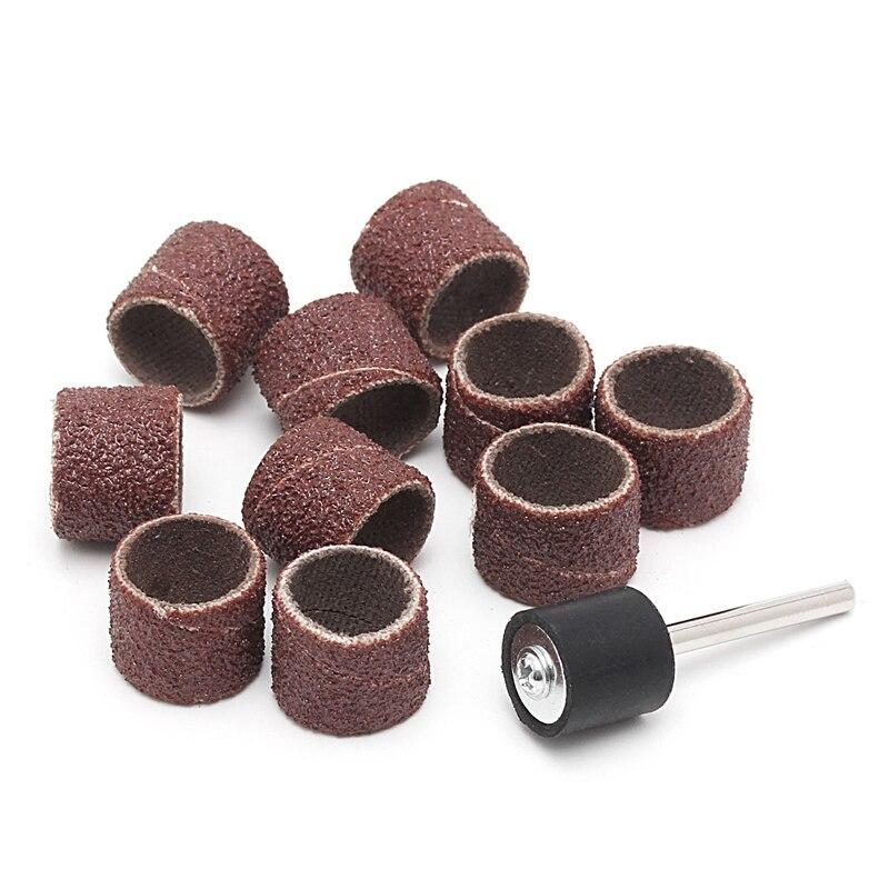 10 Pcs 12.5mm Grit 80# Sanding Bands +3.17mm Mandrel Rotary Tool Nail Drill Bits