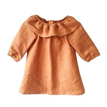Baby Girls Cute Clothes Long Sleeve Dress Crew Neck Ruffles Pageant Party Princess Solid Dress newborn baby girls floral long sleeve party pageant prom formal dress long sleeves girls cotton dress clothes