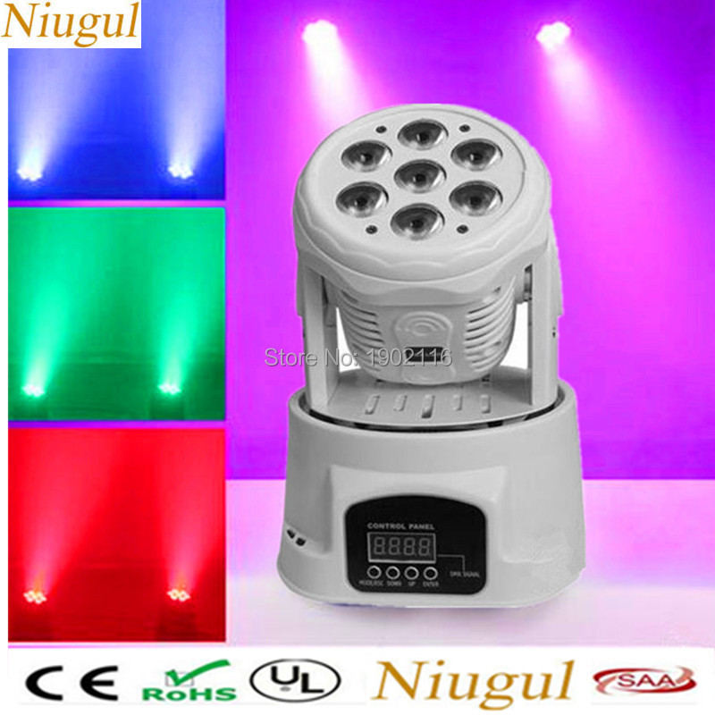 Niugul 7X12W RGBW LED Stage Light Moving Head Beam Party Light DMX-512 Led Dj Xmas Christmas Sound Active DMX Disco wash Light super brightness 4x10w rgbw led mini beam moving head dj light led wash disco lighting led display dmx dj equipment for party
