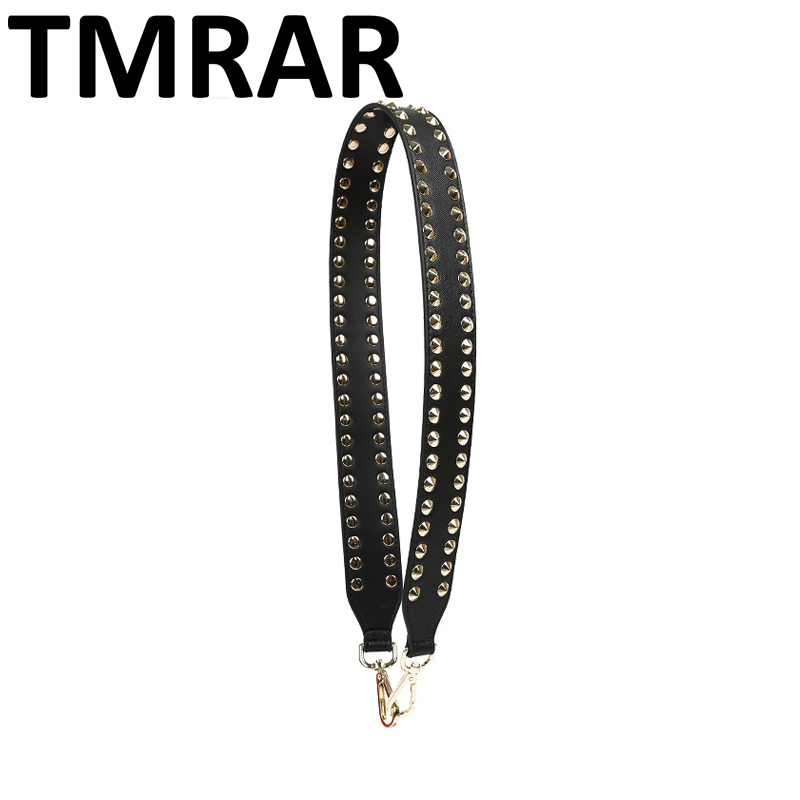2018 Fashion panelled PU leather strap with studs bag straps hot and chic bag necessary women shoulder belts easy matching qn406