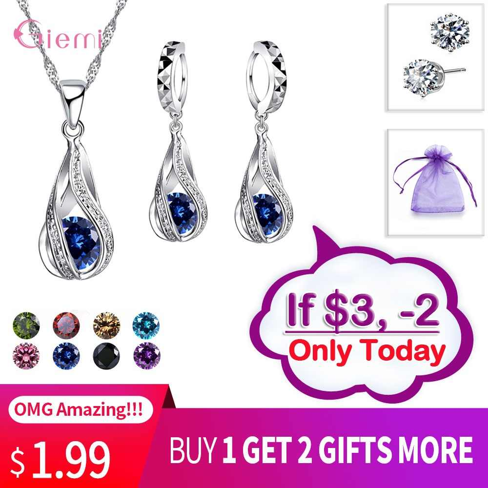 Drop Verschiffen Schmuck Sets Aus Echtem 925 Sterling Silber Zirkonia Anhänger Halsketten + Ohrringe Kristall Schmuck Geschenke Frauen