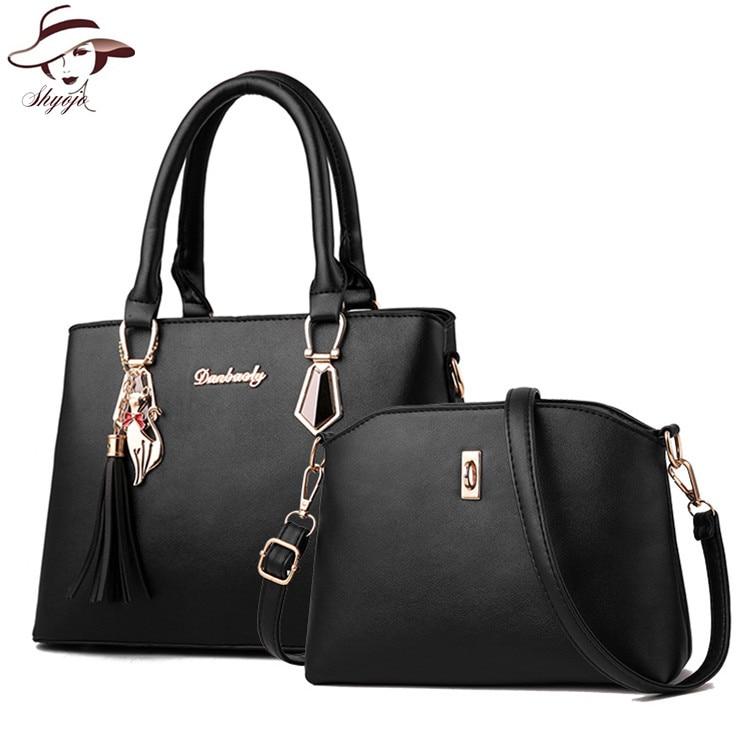 Composite Bag 2PCS Set Fashion Designer Women Bag with Small Messenger Clutch High Quality PU Leather Tassel Shoulder Handbags цена