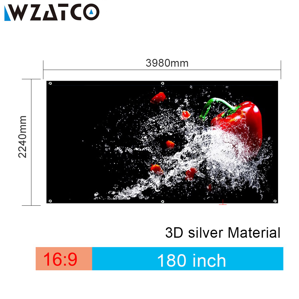 Free Shipping 180 inch 16:9 Foldable 3D Silver Projection Screen Fabric Portable Folding Without Frame Screen Projection Film free shipping 120 inch 16 9 manual screen metallic