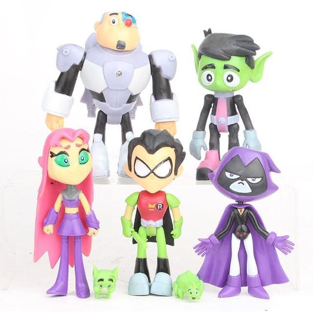 7pcs/set Teen Titans Go Robin Cyborg Beast Boy Starfire Raven Silkie PVC  Action Figures toy Kids Toys Gifts Free Shipping