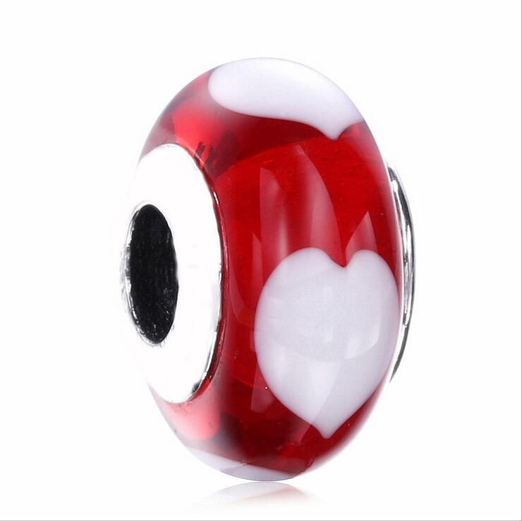 925 Sterling Silver summer The New red  CZ bead white Love heart pattern Fits Pandora Charm Bracelets DIY Jewelry making
