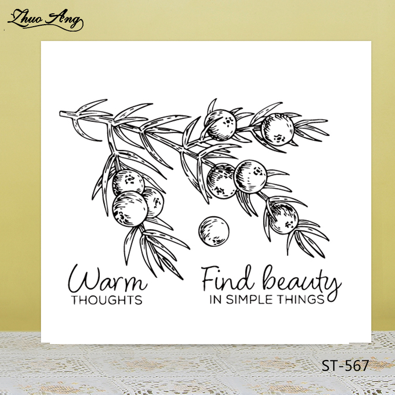 ZhuoAng Brunch Leaves Fruit Clear Stamps For DIY Scrapbooking Card Making Album Decorative Silicon Stamp Crafts in Stamps from Home Garden