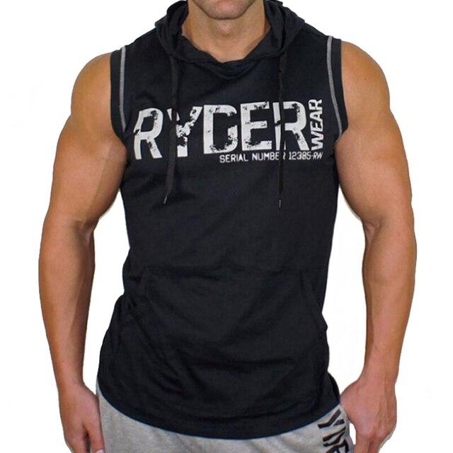 67cdb7e8e134 Printed Hooded Fitness Tanktop Gym Tank Top Men Tank Top  Bodybuilding Sportswear Body Engineers Sleeveless Clothing Gym Clothing