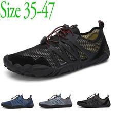 TIOSEBON Big Size 35-47 Sneakers Water Shoes Men Barefoot Skin Beach Upstream Breathable Anti-Slip Net Quick Dry Footwear