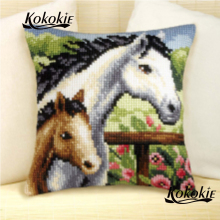 handmade 3d mat sets diy needle cushions embroidery yarn pillowcase horse