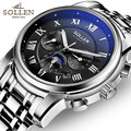 Top Brand Luxury Sollen Watch For Men Automatic Movement And Stainless Steel Erkek Saat Skeleton Watch Men Watches 2017