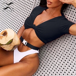 Bikinx T-shirt swimsuit female Buckle Brazilian bikinis 2019 mujer Knot sports swimwear women Thong bikini two-piece suit beach