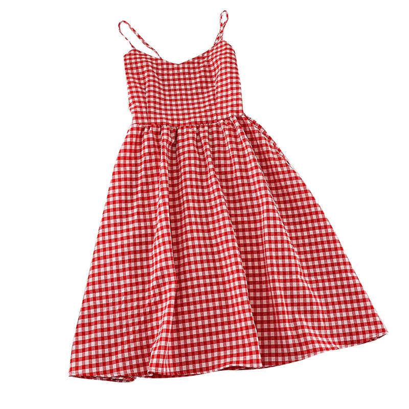 Летние женские милые решетки трапециевидной формы с v-образным Вырезом Качели легкий плащ до колен женские классические кампус ретро тонкий высокая талия платье-комбинация