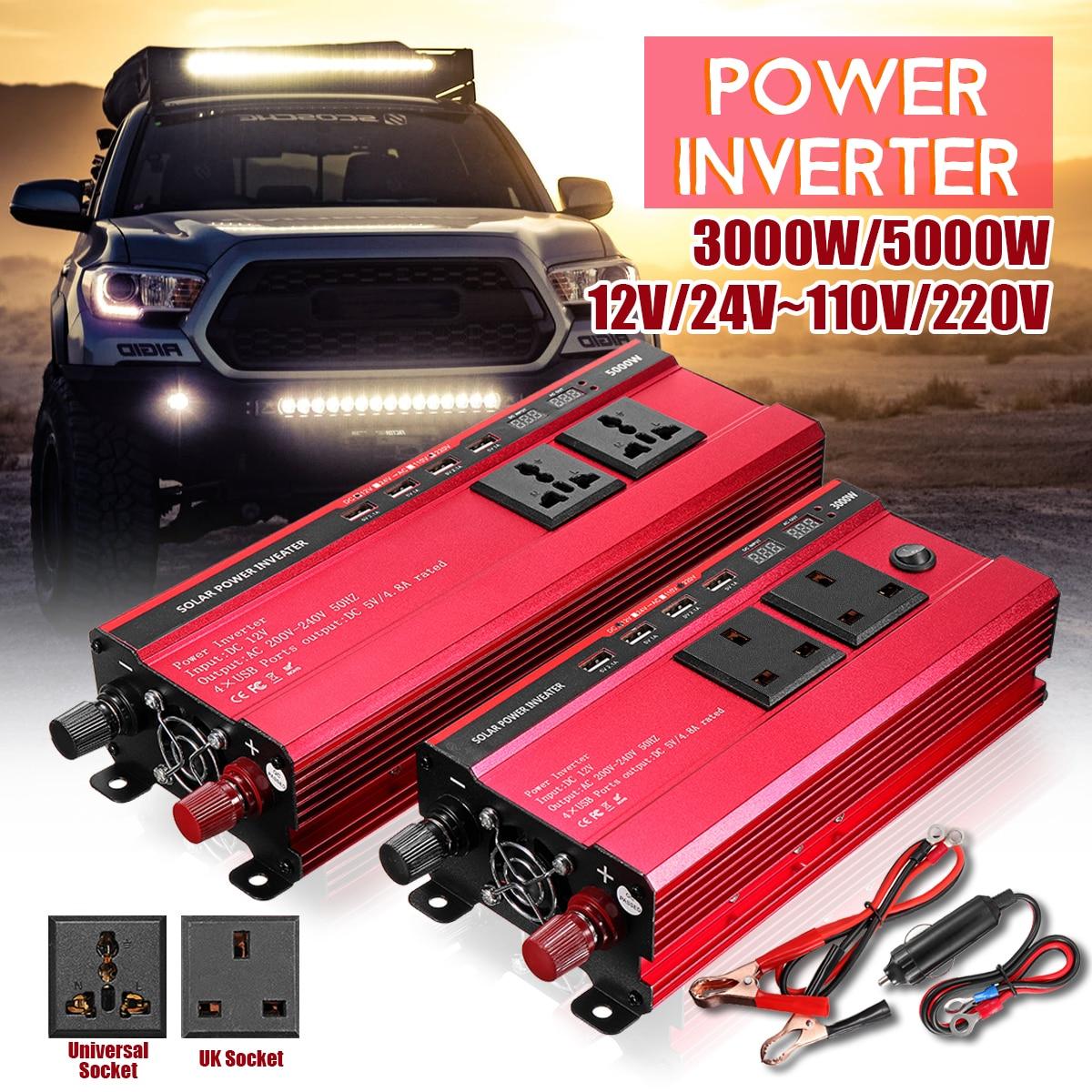 цена на Car Inverter 12V 220V 3000W/5000W P eak Power Voltage Transformer Converter DC 12V To AC 220V Modified Sine Wave Solar Inverter