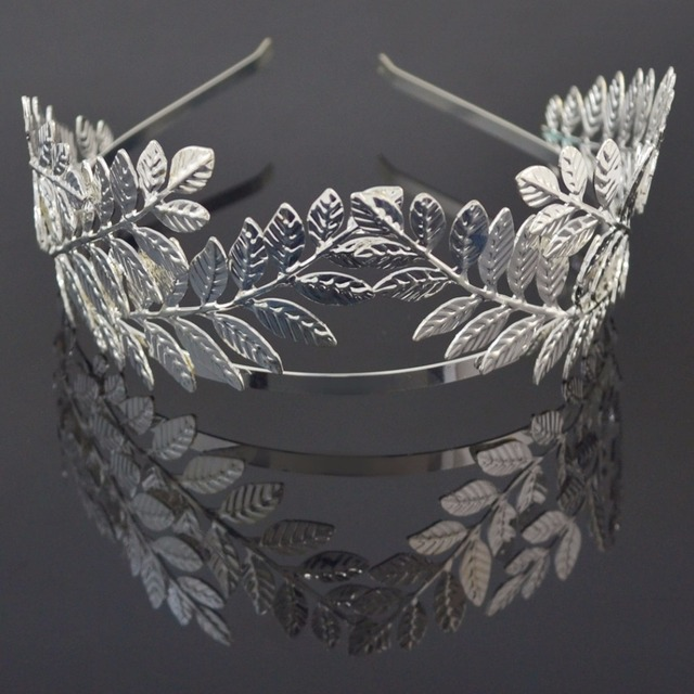 Elegant Baroque Gold Silver Metal Leaves Hairband Headpiece Crown Tiaras with Forehead jewelry Bridal  Wedding Hair Accessories