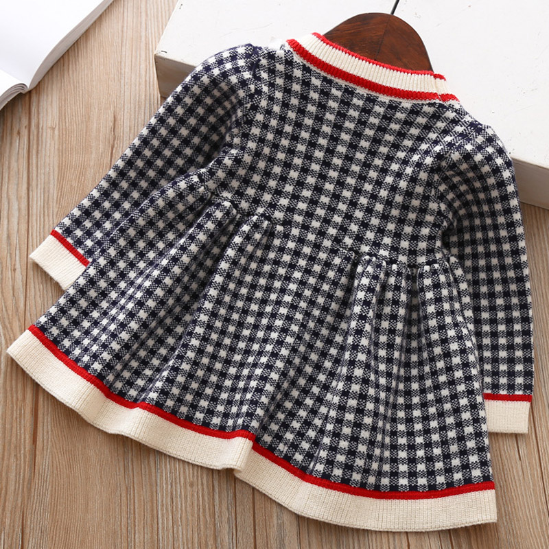 5fb7ee0f469 Baby Girl Dress Sweater Clothes for Infant Toddler Kids Girls Autumn Winter  Knitted Cotton Dressing Plaid Style 3 36 Months -in Dresses from Mother    Kids ...