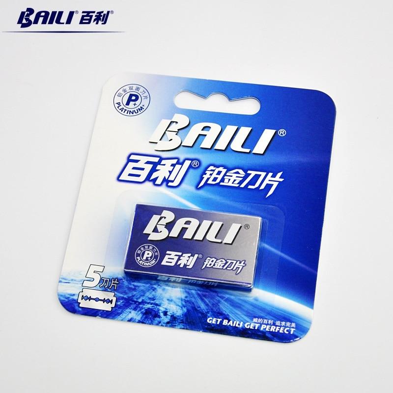 BAILI 10pcs Men's Barber Super Sharp Razor Shaver Blades Double Edge Platinum Stainless Steel for Beard Hair Shaving BP007Ax2 2