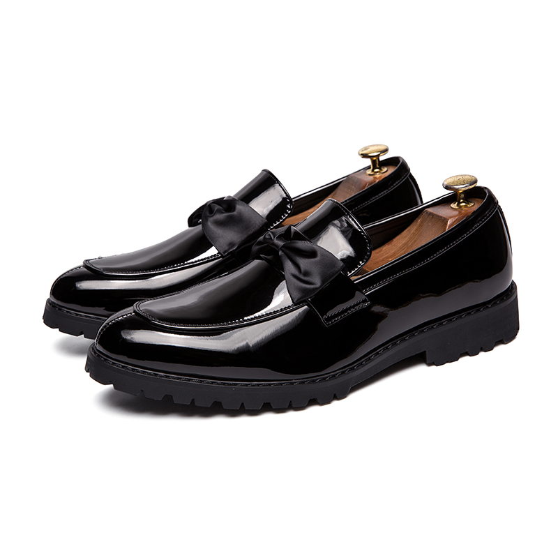 formal men leather shoes male trend Bow slip on footwear cool italian luxury brand wedding dress moccasins oxford shoes for men (3)