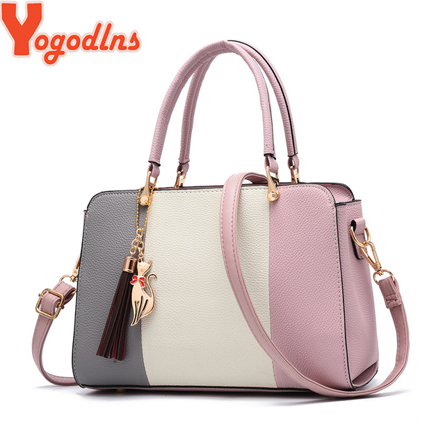 Yogodlns brand ladies tassel patchwork totes casual fashion flap shopping party work purse women crossbody shoulder handbag