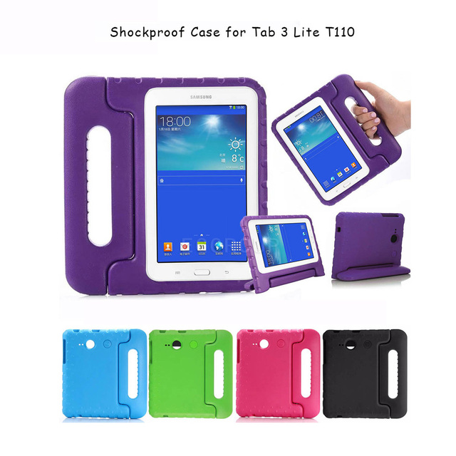wholesale dealer e9bdc 94cc5 US $13.78 35% OFF|Kids Children Safe Rugged Proof Foam Handle Stand Case  For Samsung GALAXY Tab 3 Lite T110/Samsung Tab E Lite 7.0 SM T113-in  Tablets ...