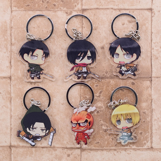 2019 Attack on Titan Keychain Double Sided Acrylic Key Chain Pendant Anime Accessories Cartoon Key Ring 3
