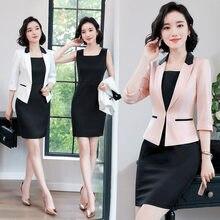 d79bbe6ab630 2019 Formal Elegant Women s Pink Blazers Ol Office Lady Women Business  Single Work Uniform Sleeve Blazer + Dress Suits Dresses