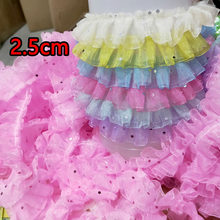 2019 Sequins Laces Dot Tulle Guipure Lace Fabric Pleated Lace Trim Width 2.5cm Sewing Accessories For Dress encajes dentelle RT3(China)