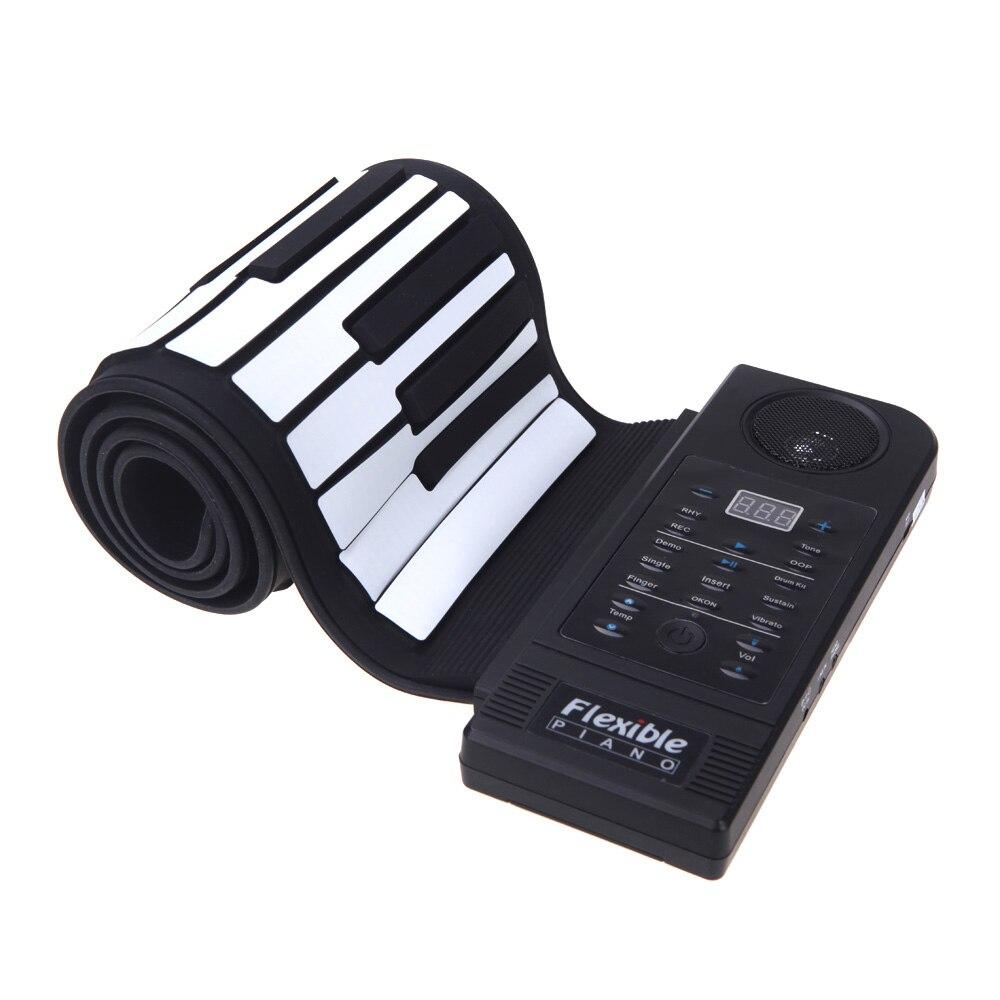 CHAUDE-Flexible Piano 61 Touches Électroniques Piano Clavier Silicon Roll Up Piano Soutenir Fonction USB Port avec Haut-Parleur (US plug